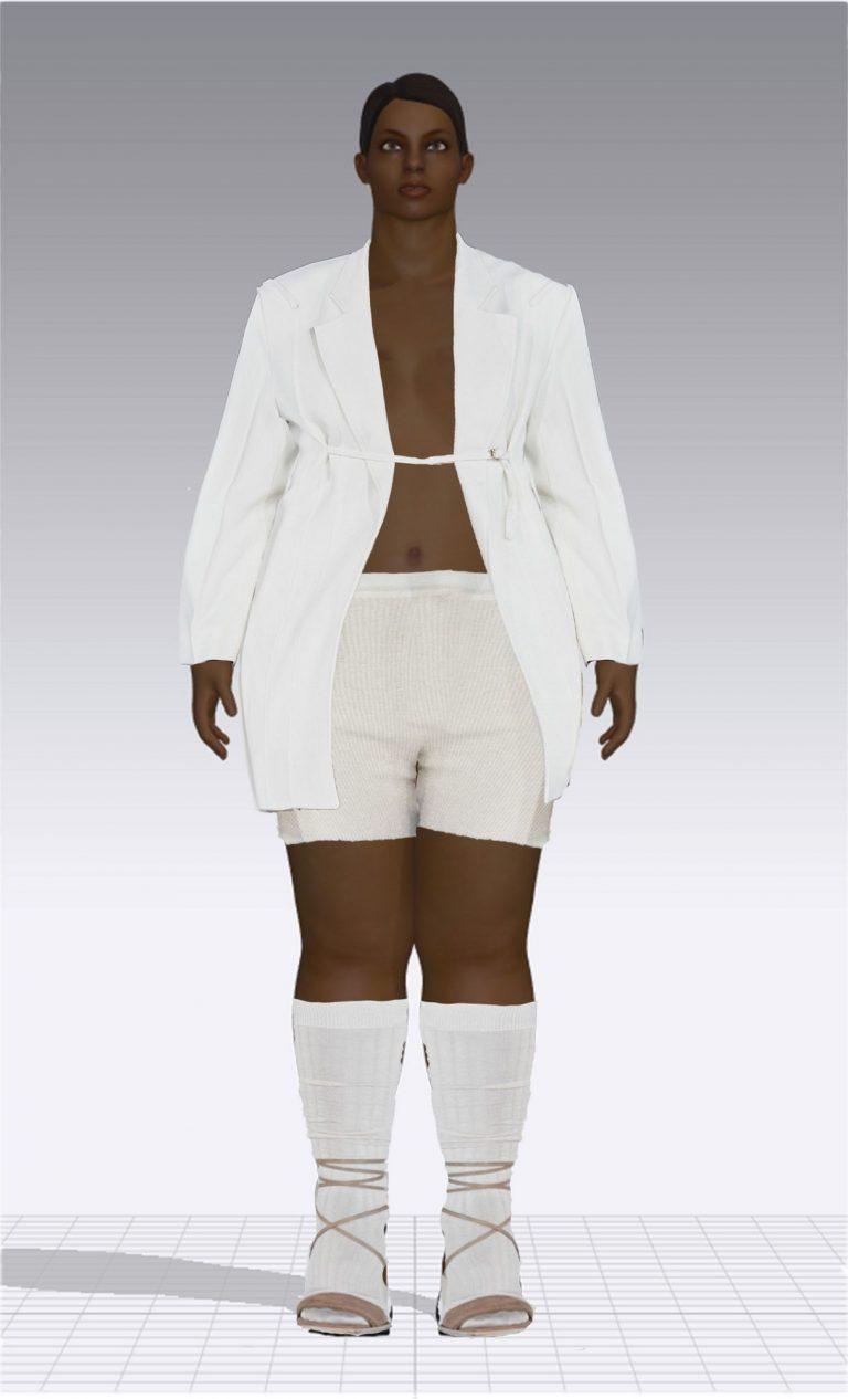 Ein weiblicher Avatar trägt eine weiße kurze Hose und ein langes weißes Jackett. Der Avatar ist Plus Size.