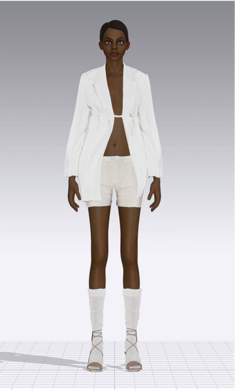 Ein weiblicher Avatar trägt eine weiße kurze Hose und ein langes weißes Jackett. Der Avatar ist dünn.