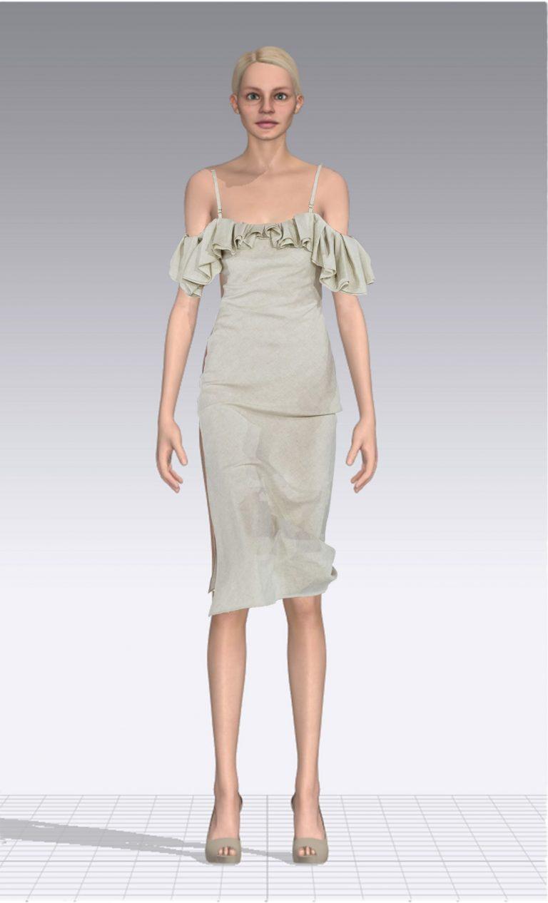 Ein weiblicher Avatar trägt ein helles Kleid mit dünnen Trägern und Rüschen. Der Avatar ist dünn.