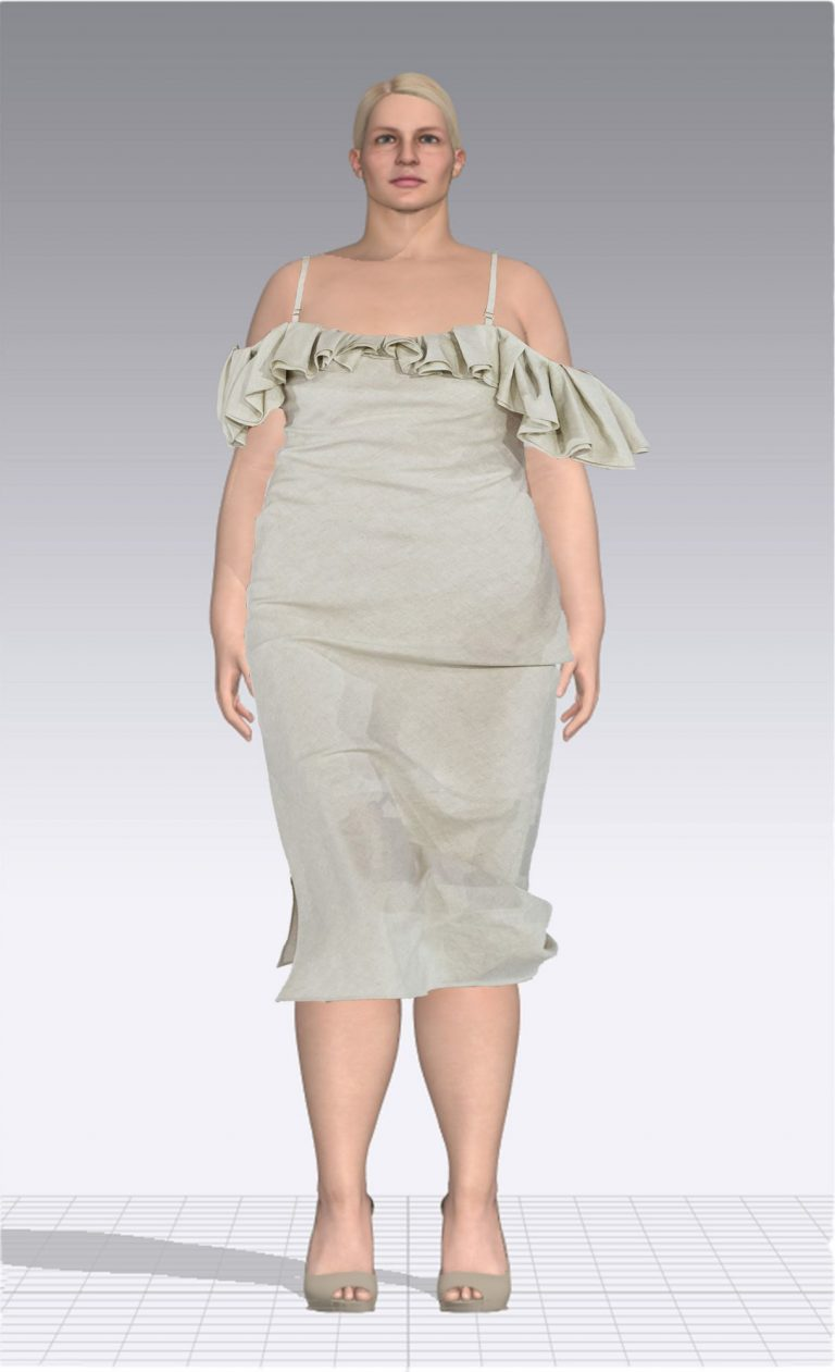 Ein weiblicher Avatar trägt ein helles Kleid mit dünnen Trägern und Rüschen. Der Avatar ist Plus Size.