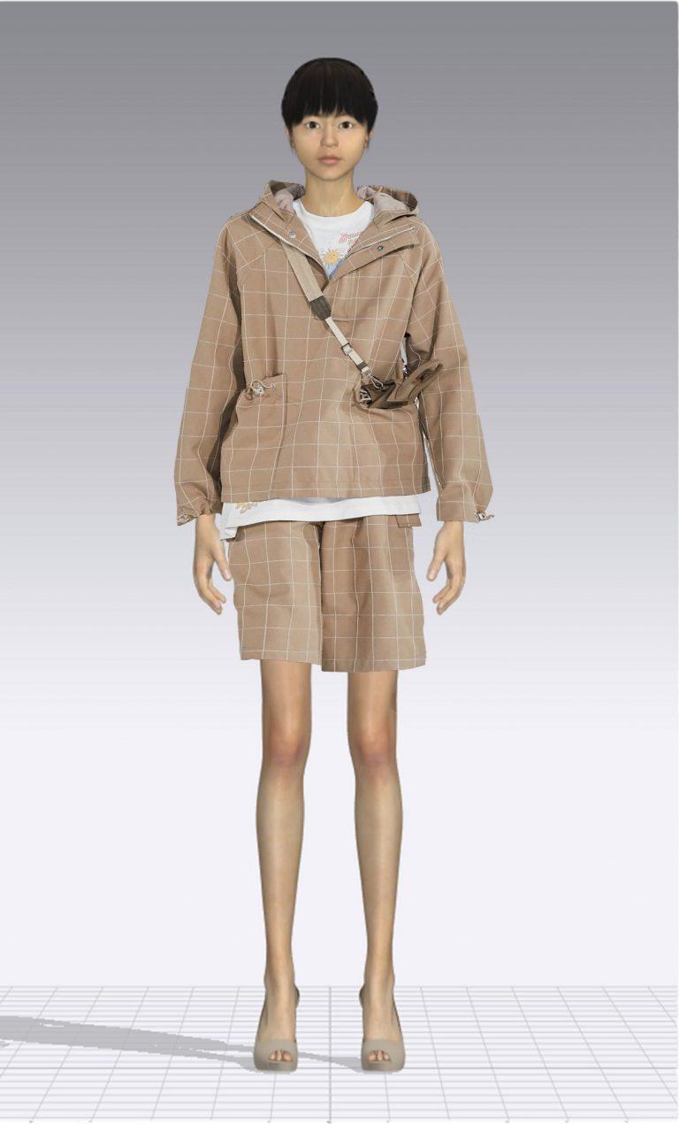 Ein weiblicher Avatar trägt eine kurze karierte Hose und einen dazu passenden Pullover. Der Avatar ist dünn.