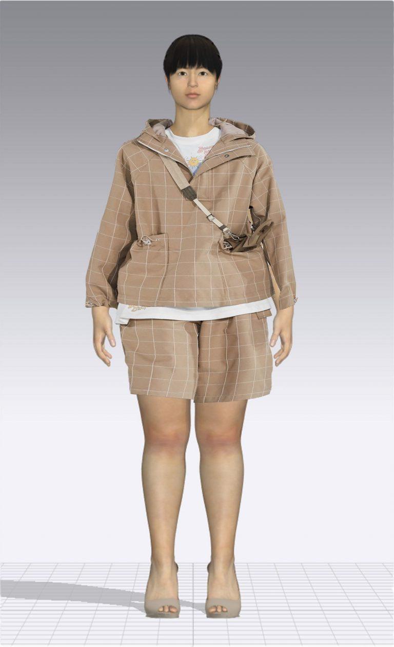 Ein weiblicher Avatar trägt eine kurze karierte Hose und einen dazu passenden Pullover. Der Avatar ist Plus Size.