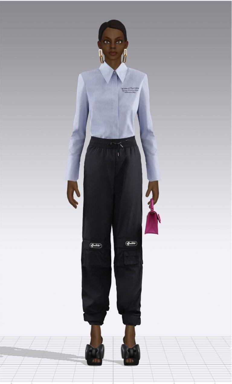 Ein weiblicher Avatar trägt ein Hemd und eine sportliche Hose. Der Avatar ist dünn.