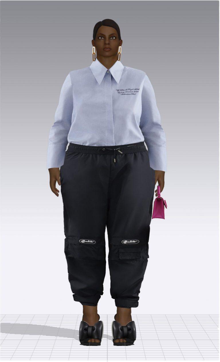 Ein weiblicher Avatar trägt ein Hemd und eine sportliche Hose. Der Avatar ist Plus Size.