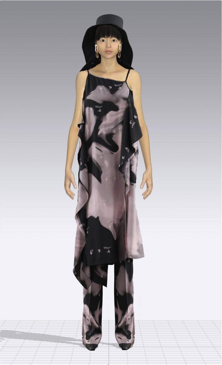Ein weiblicher Avatar trägt einen Zweiteiler aus einem Kleid und einer passenden Hose. Der Avatar ist dünn.