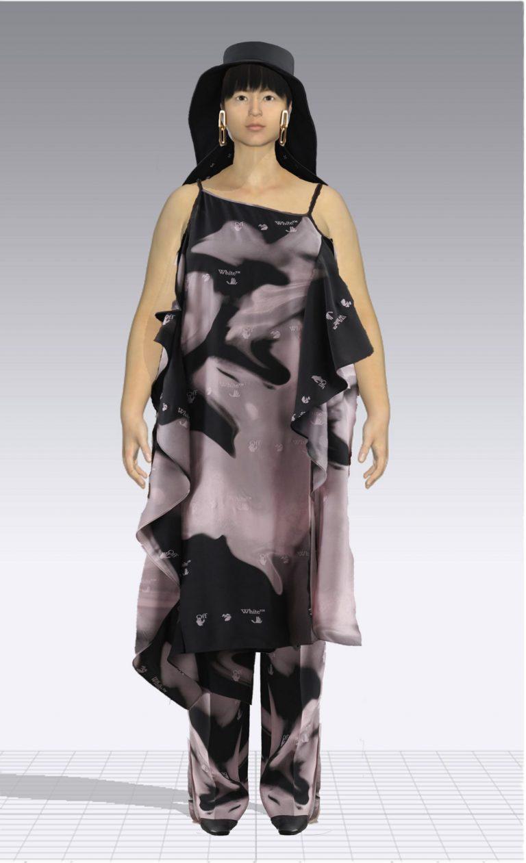 Ein weiblicher Avatar trägt einen Zweiteiler aus einem Kleid und einer passenden Hose. Der Avatar ist Plus Size.