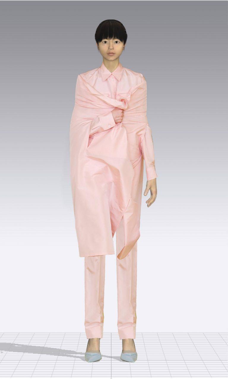 Ein weiblicher Avatar trägt einen rosa Zweiteiler aus einem langen Hemd und einer passenden Hose. Der Avatar ist dünn.