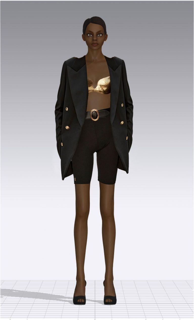 Ein weiblicher Avatar trägt eine kurze schwarze Hose und ein schwarzes Jackett. Unter dem Jackett trägt der Avatar einen goldenen Büstenhalter. Der Avatar ist dünn.