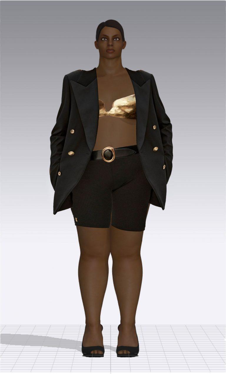 Ein weiblicher Avatar trägt eine kurze schwarze Hose und ein schwarzes Jackett. Unter dem Jackett trägt der Avatar einen goldenen Büstenhalter. Der Avatar ist Plus Size.