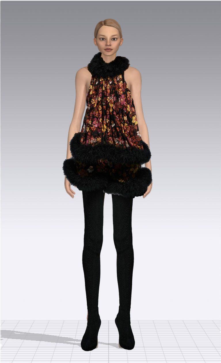 Ein weiblicher Avatar trägt eine schwarze Strumpfhose und ein kurzes geblümtes Kleid. Der Avatar ist dünn.
