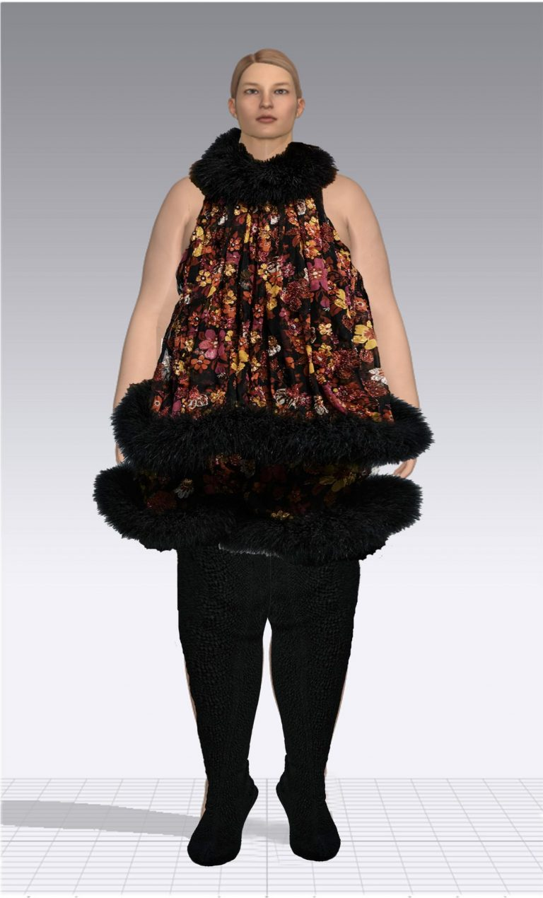 Ein weiblicher Avatar trägt eine schwarze Strumpfhose und ein kurzes geblümtes Kleid. Der Avatar ist Plus Size.